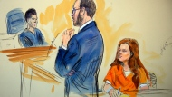 This courtroom sketch depicts Maria Butina, a 29-year-old gun-rights activist suspected of being a covert Russian agent, listening to Assistant U.S. (Dana Verkouteren via AP)
