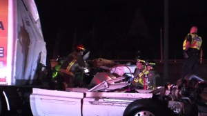 Three people were taken to hospital following a serious crash on Highway 401 in North York.