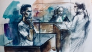 Dyon Smart makes a court appearance in Brampton in this court sketch Thursday July 19, 2018. (Sketch by Pam Davies)