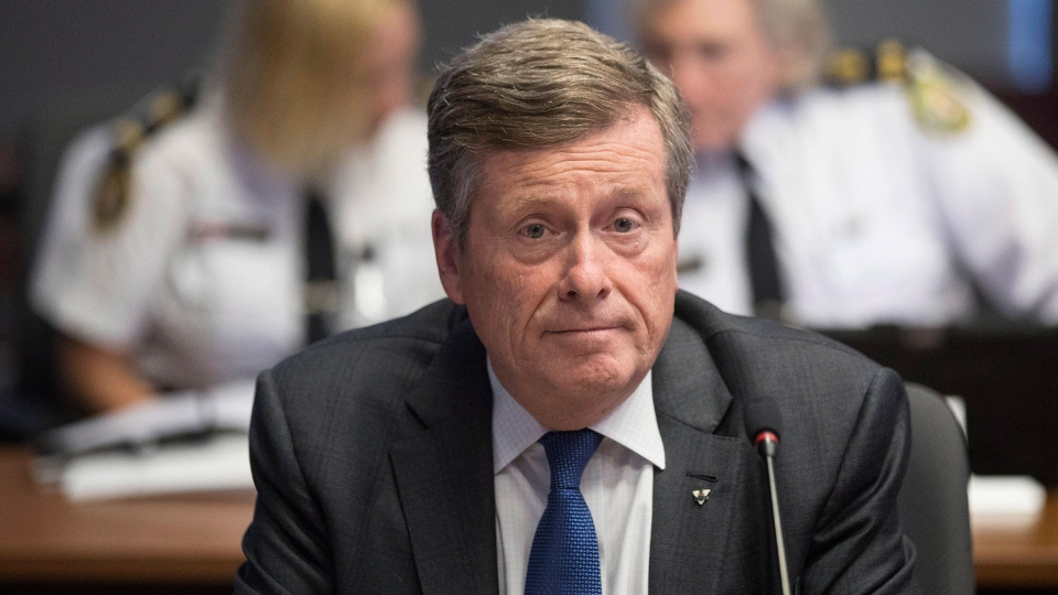 Toronto Mayor John Tory attends a Toronto Police Board meeting in Toronto on Thursday, July 19, 2018. THE CANADIAN PRESS/Chris Young