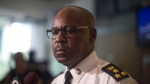 Toronto Police Chief Mark Saunders scrums with the media after attending a Toronto Police Services Board meeting in Toronto on Thursday, July 19, 2018. (THE CANADIAN PRESS/Chris Young)