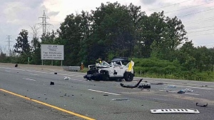 One female is dead following a single-vehicle collision on Highway 403 near Winston Churchill Boulevard. (PHOTO: OPP Sgt. Kerry Schmidt)