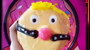 A doughnut made by Vandal Doughnuts in Halifax, depicting U.S. President Donald Trump is seen in this undated handout photo. U.S. President Donald Trump, or at least a culinary version of him, may be rendered speechless after a Halifax, N.S.-based doughnut shop released a new creation to celebrate Pride Week. Vandal Doughnuts recently came out with a sticky-sweet treat depicting the controversial politician donning a bright pink ball gag, a bondage tool used in sadomasochism and BDSM. THE CANADIAN PRESS/HO, Vandal Doughnuts *MANDATORY CREDIT*