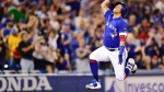 Toronto Blue Jays third baseman Yangervis Solarte celebrates his two-run home run against the Baltimore Orioles during eighth inning American League baseball action in Toronto on Sunday, July 22, 2018. THE CANADIAN PRESS/Frank Gunn
