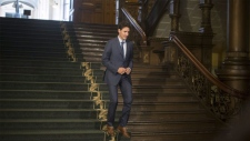 Prime Minister Justin Trudeau arrives to take questions from reporters following his meeting with Ontario Premier Doug Ford at the Ontario Legislature, in Toronto on Thursday, July 5, 2018. THE CANADIAN PRESS/Chris Young