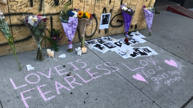 A growing memorial on the Danforth has been set up near the scene of a deadly mass shooting in Greektown. (Cristina Tenaglia/ CP24)