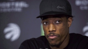 DeMar DeRozan reacts during an end of year press conference at the BioSteel Centre in Toronto on Tuesday, May 8, 2018. THE CANADIAN PRESS/Cole Burston