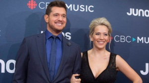 In this March 25, 2018 file photo, Michael Buble and his wife Luisana Lopilato at the Juno Awards in Vancouver, British Columbia. (Darryl Dyck/The Canadian Press via AP, File)