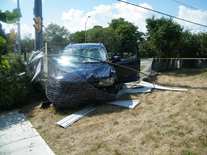The vehicle a 24-year-old man was in when he was fatally shot is seen in this image released by Toronto Police Service.