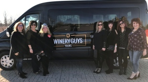 Linda D'Onoforio, third left, is shown with members of her bachelorette party in Niagara-on-the-Lake in this undated handout image. THE CANADIAN PRESS/HO-Winery Guys Tours
