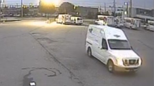 A white Nissan NV cargo van is shown in surveillance camera footage. (PRP)