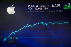 An electronic screen displays Apple stock at the Nasdaq MarketSite, Thursday, Aug. 2, 2018, in New York. Apple has become the world's first publicly traded company to be valued at $1 trillion. The milestone marks the triumph of stylish technology that has redefined what we expect from our gadgets ever since two mavericks named Steve started the company 42 years ago. (AP Photo/Mark Lennihan)