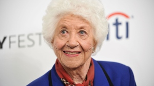 "In this Sept. 15, 2014 file photo, Charlotte Rae arrives at the 2014 PALEYFEST Fall TV Previews - ""The Facts of Life"" Reunion in Beverly Hills, Calif. (Photo by Richard Shotwell/Invision/AP, File)"