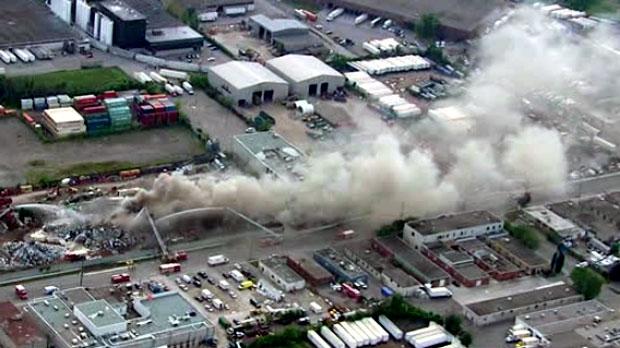 Smoke coming from a blaze in Etobicoke is seen.