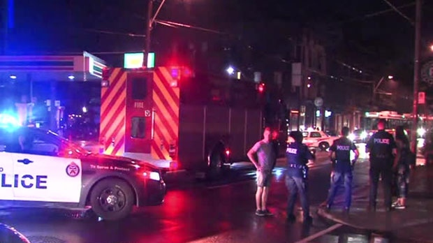 A pedestrian was taken to hospital after being struck by a fire truck near Trinity Bellwoods Park on Tuesday night.