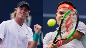 Denis Shapovalov (left) and Milos Raonic are seen at the Rogers Cup tennis tournament in Toronto, Wednesday, August 8, 2018. THE CANADIAN PRESS/Mark Blinch