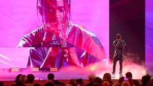 Travis Scott performs at the NBA Awards on Monday, June 25, 2018, at the Barker Hangar in Santa Monica, Calif. (Photo by Chris Pizzello/Invision/AP)