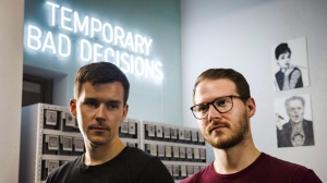 Braden, left, and Tyler Handley, co-founders of Inkbox, a semi-permanent tattoo company based in Toronto, pose for a photograph on Monday, July 23, 2018. THE CANADIAN PRESS/Christopher Katsarov