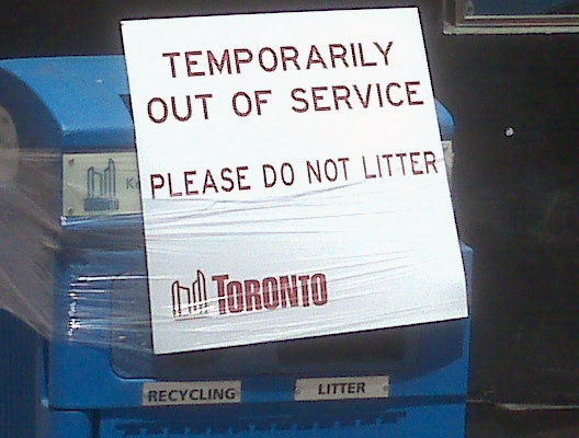 A sign prevents people from throwing out their garbage or recycling on Monday June 22, 2009. (CP24/Brian Carr)