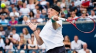 Denis Shapovalov, of Canada, returns the ball against Robin Haase, of the Netherlands, during round three of the men's Rogers Cup tennis action in Toronto on Thursday, August 9, 2018. THE CANADIAN PRESS/Nathan Denette