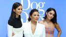 "Nina Dobrev, from left, Eva Longoria and Vanessa Hudgens arrive at the World Premiere of ""Dog Days"" at the Atrium at Westfield Century City, Sunday, Aug. 5, 2018, in Los Angeles. (Photo by Willy Sanjuan/Invision/AP)"