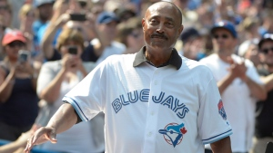Cito Gaston, manager of the 1992 and 1993 World Series-winning Toronto Blue Jays teams acknowledges the crowd on the 25th anniversary of their back-to-back championships before the game against the Tampa Bay Rays at Rogers Centre Saturday August 11, 2018 in Toronto. THE CANADIAN PRESS/Jon Blacker