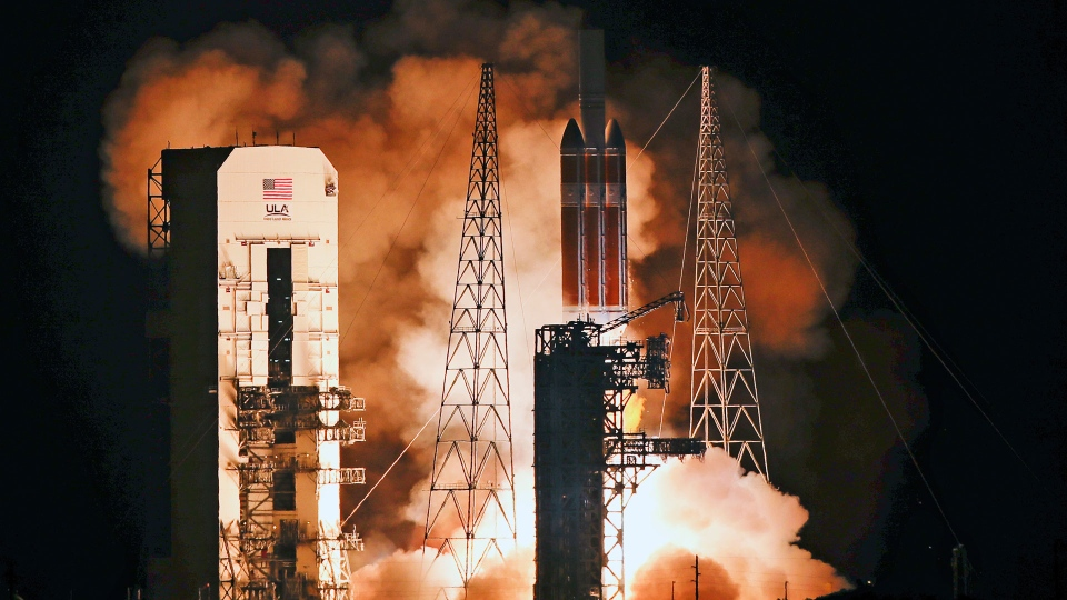 A Delta IV rocket, carrying the Parker Solar Probe, lifts off from launch complex 37 at the Kennedy Space Center, Sunday, Aug. 12, 2018, in Cape Canaveral, Fla. The Parker Solar Probe will venture closer to the Sun than any other spacecraft and is protected by a first-of-its-kind heat shield and other innovative technologies that will provide unprecedented information about the Sun. (AP Photo/John Raoux)