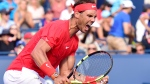 Rafael Nadal of Spain celebrates after defeating Stefanos Tsitsipas of Greece during championships men's finals Rogers Cup tennis action in Toronto on Sunday, August 12, 2018. THE CANADIAN PRESS/Frank Gunn