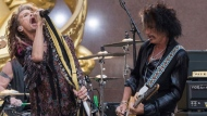 """Steven Tyler, left, and Joe Perry of Aerosmith perform on NBC's """"Today"""" show at Rockefeller Center on Wednesday, Aug. 15, 2018, in New York. (Photo by Charles Sykes/Invision/AP)"""