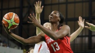 Canada forward Tamara Tatham makes a layup during the first half of a women's basketball game against China at the Youth Center at the 2016 Summer Olympics in Rio de Janeiro, Brazil, Saturday, Aug. 6, 2016. (AP Photo/Carlos Osorio)