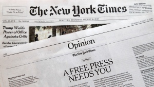 "An editorial titled ""A Free Press Needs You"" is published in The New York Times, Thursday, Aug. 16, 2018, in New York. (AP Photo/Mark Lennihan)"