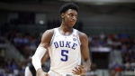Duke Blue Devils' R.J. Barrett celebrates a 3 pointer during exhibition basketball action against the Ryerson Rams, in Mississauga, Ont., Wednesday, August 15, 2018. (THE CANADIAN PRESS/Mark Blinch)