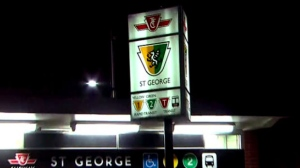"""The exterior of St. George Station is seen as police investigate a """"potential threat."""""""