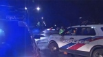 A man in his 20s was struck by a vehicle in the Port Lands overnight.
