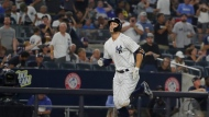 New York Yankees' Giancarlo Stanton runs the bases after hitting a home run during the seventh inning of a baseball game against the Toronto Blue Jays, Friday, Aug. 17, 2018, in New York. (AP Photo/Frank Franklin II)