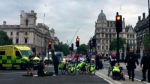 In this frame grab provided by UK Newsflare, emergency services attend the wounded after a car crashed into security barriers outside the Houses of Parliament in London, Tuesday, Aug. 14, 2018. A car plowed into pedestrians and cyclists near the Houses of Parliament in London during the morning rush hour Tuesday, injuring a number of people in what police suspect is the latest in a string of vehicle-based attacks in the British capital. (UK Newsflare via AP)