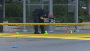 Police are investigating a triple stabbing near Sherway Gardens mall that left one male dead. (Dave Ritchie/ CP24)