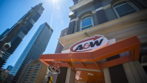An A&W Restaurant in Toronto is photographed on Monday, July 9, 2018. People who occasionally avoid meat, vegetarians and even vegans increasingly have more options when parsing menus at restaurants. A&W Food Services of Canada Inc. last month launched a plant-based burger made by Beyond Meat, a celebrity-backed California-based company, whose burger uses ingredients including beet, coconut oil and potato starch to mimic beef's colouring, juiciness and chew. THE CANADIAN PRESS/ Tijana Martin