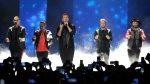 "In this June 6, 2018 file photo, Kevin Richardson, Howie Dorough, Nick Carter, Brian Littrell, and AJ McLean of Backstreet Boys, perform ""Don't go Breaking My Heart"" at the CMT Music Awards at the Bridgestone Arena in Nashville, Tenn. (AP Photo/Mark Humphrey, File)"