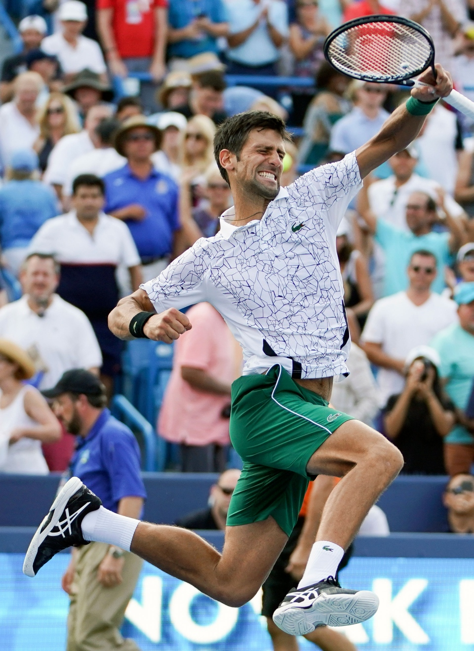 Novak Djokovic, of Serbia, reacts after defeating Roger Federer, of Switzerland, during the finals at the Western & Southern Open tennis tournament, Sunday, Aug. 19, 2018, in Mason, Ohio. (AP Photo/John Minchillo)