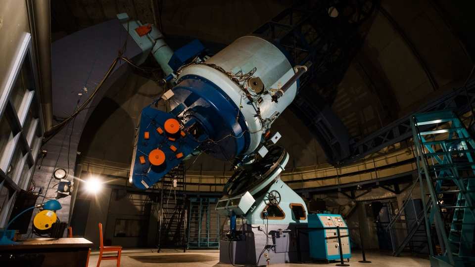 The telescope in the Dunlap Observatory in Richmond Hill, Ont., is photographed on Saturday, August, 18, 2018. THE CANADIAN PRESS/Christopher Katsarov