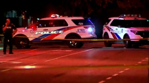 Toronto police are seen investigating after a shooting took place in Flemingdon Park on Monday night.