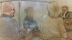 A 15-year-old boy appears in court on Aug. 21, 2018 in connection with a fatal stabbing in Etobicoke. (John Mantha)