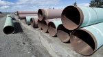 Pipes are seen at the pipe yard at the Transmountain facility in Kamloops, B.C., on March 27, 2017. THE CANADIAN PRESS/Jonathan Hayward