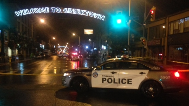 One man is dead following a shooting in Greektown overnight. (Cam Woolley/ CP24)