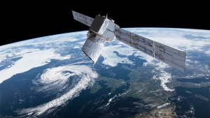 The photo provided by European Space Agency ESA shows an artists rendering of ESA's Aeolus satellite which will provide timely and accurate profiles of the world's winds and further information on aerosols and clouds. (ESA via AP)
