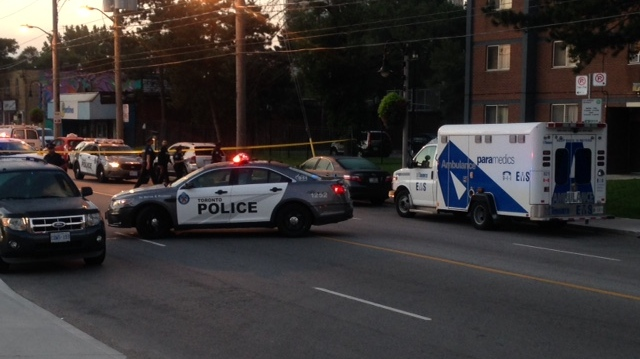 A police cruiser is shown at the scene of a stabbing investigation on Weston Road south of Lawrence Avenue on Friday morning. (CP24.com/Cam Woolley)