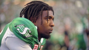 Saskatchewan Roughriders wide receiver Duron Carter takes a breather during first half CFL action against the B.C. Lions, in Regina on Sunday, August 13, 2017. Carter's next CFL stop will be Toronto. THE CANADIAN PRESS/Mark Taylor