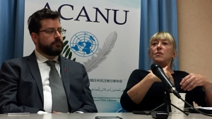 """Peter Asaro, left, of the International Committee for Robot Arms Control, and Jody Williams of the Nobel Women's Initiative speak to reporters at a news conference in Geneva, Switzerland, Monday, Aug. 27, 2018. Experts from scores of countries are meeting to discuss ways to define and deal with """"killer robots"""", futuristic weapons systems that could conduct war without human intervention. (AP Photo/Jamey Keaten)"""