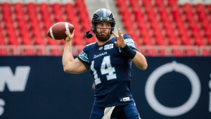 Toronto Argonauts quarterback McLeod Bethel-Thompson (14) throws before CFL action against the BC Lions, in Toronto on Sunday, August 18, 2018. THE CANADIAN PRESS/Christopher Katsarov